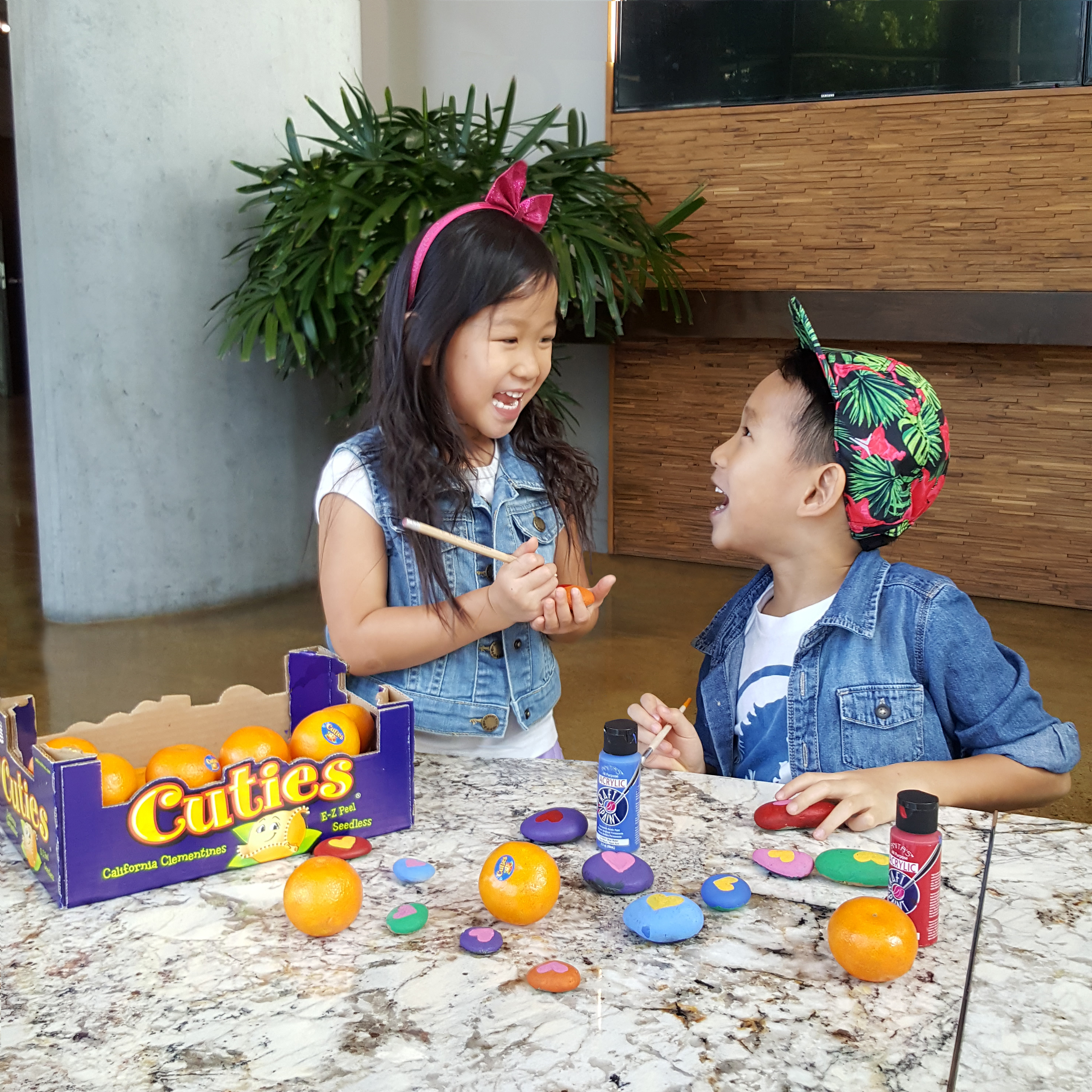 100 Days of Sunshine Cuties Fruit Healthy The Hustling Mama Kids Crafts Joy Rocks DIY Collaboration Partnership Influencer